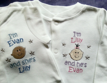 2 Personalised Twins Sleepsuits/Babygros & bibs set boy or girl, pink blue white
